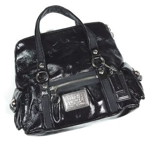 Coach Poppy Black Patent Leather Tote Bag